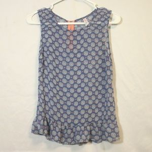 Blue Sleeveless Blouse with Ruffles